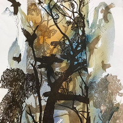 Linocut on watercolour