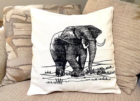 Elephant Screen Print Throw Pillow