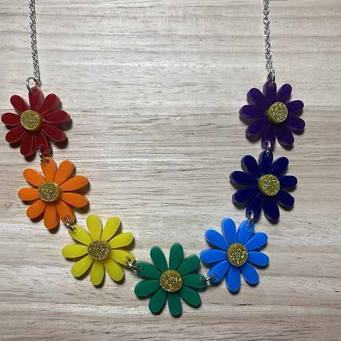 Rainbow Daisy Necklace