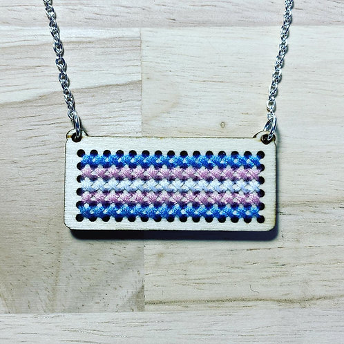 Cross Stitch Trans Flag Necklace