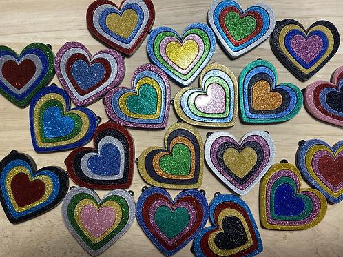 Random Glitter Rainbow Heart Necklace