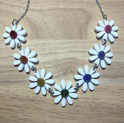 Rainbow Glitter Daisies Necklace