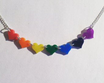 Small Rainbow Hearts Necklace