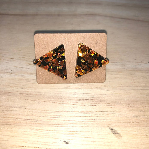 Geometric Orange Glitter Triangle Earrings