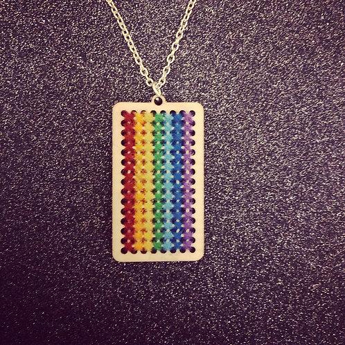 Rainbow Cross Stitch Necklace