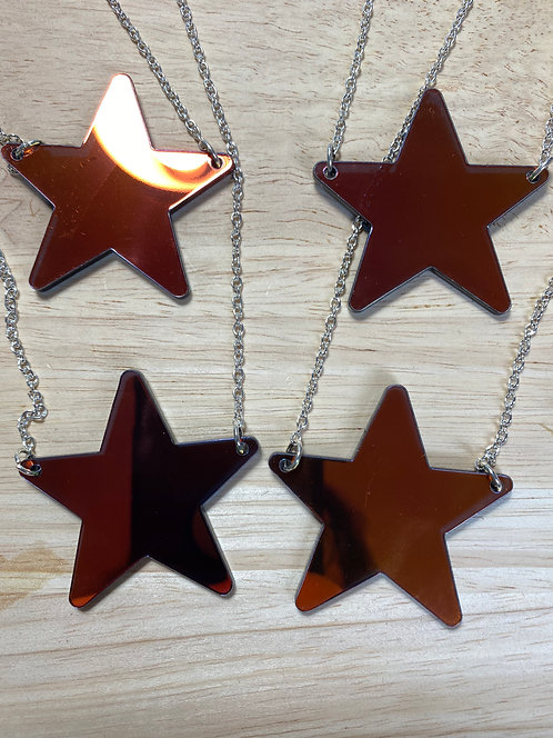 NOT PERFECT - Oil Slick Iridescent Star Necklace