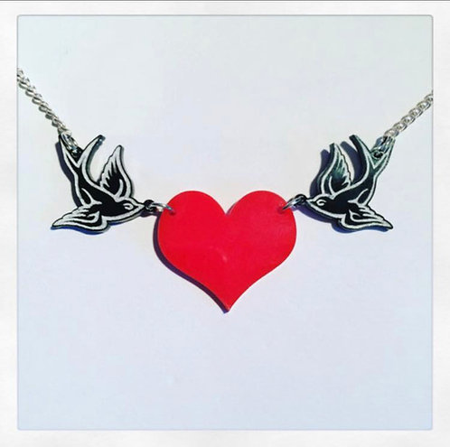 Vintage Style Swallows and Heart