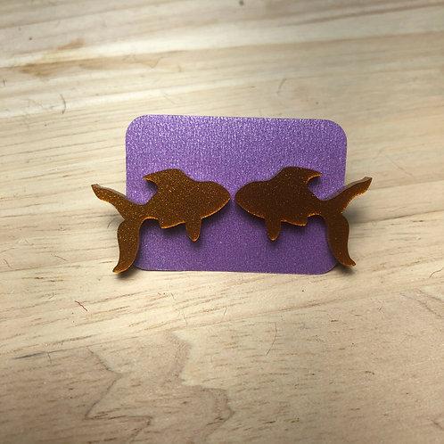 Glitter Goldfish Earrings