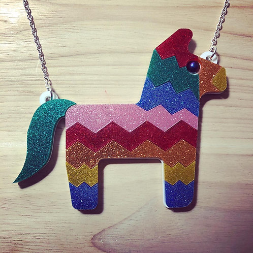 Charlie The Piñata Glitter Acrylic Necklace