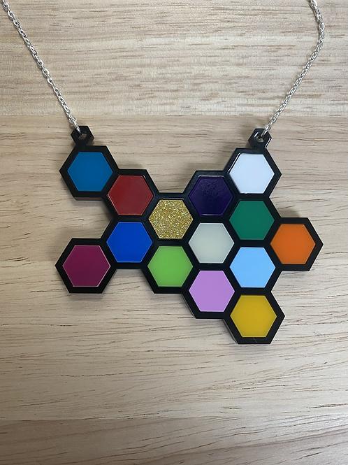Random Rainbow Honeycomb Necklace