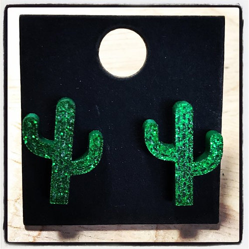 Acrylic Cactus Glitter Earrings