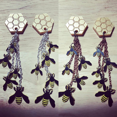 Bumble Bee and Honeycomb Earrings