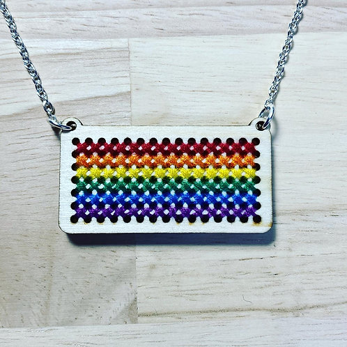 Cross Stitch Pride Flag Necklace