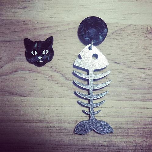 Asymmetric Cat Head and Fish Skeleton Acrylic Earrings