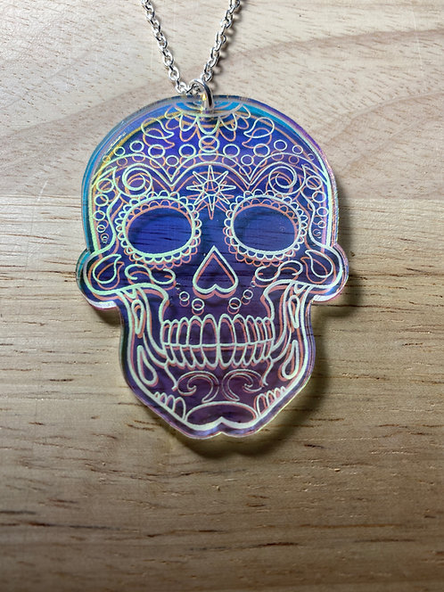 Iridescent Sugar Skull Necklace