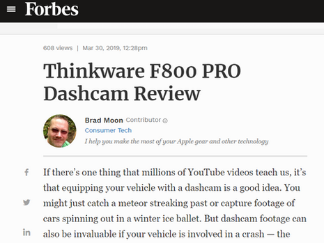 Thinkware F800 Pro Dashcam Review