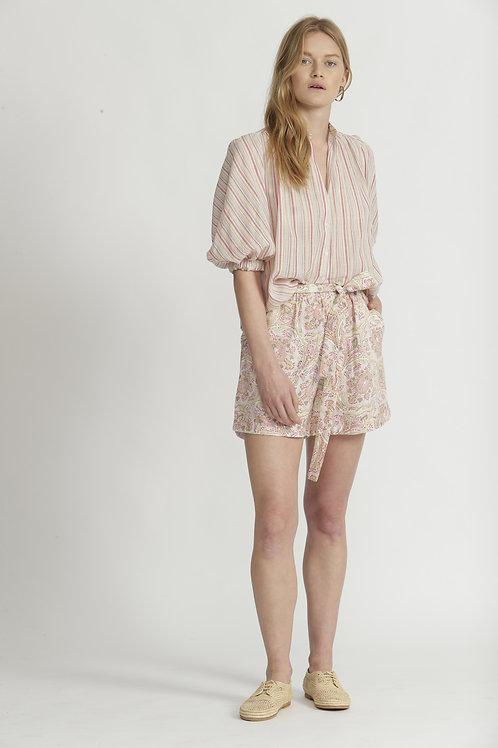 Block Printed Linen Shorts