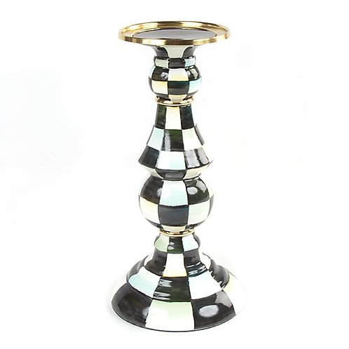 Courtly Check Pillar Candlestick - Large