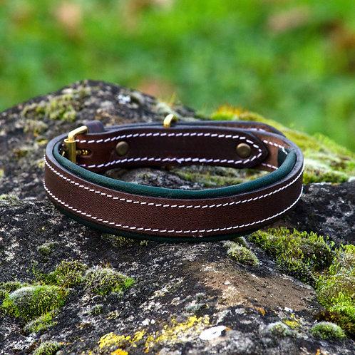Silver Dog Handmade Dark Green & Dark Brown  English Leather Collar L