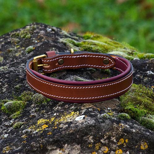 Silver Dog Handmade Burgundy & Brown  English Leather Collar L