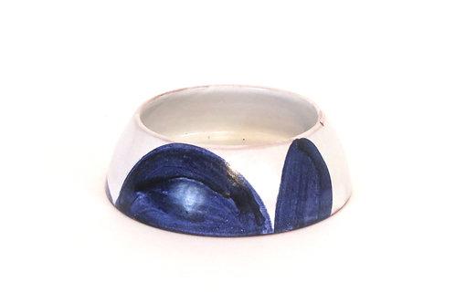 Handmade Pottery Dog Bowl White & Blue