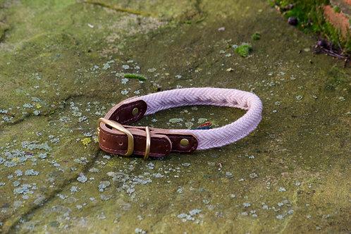 Rolled Dog Collar Herringbone Dusky Pink