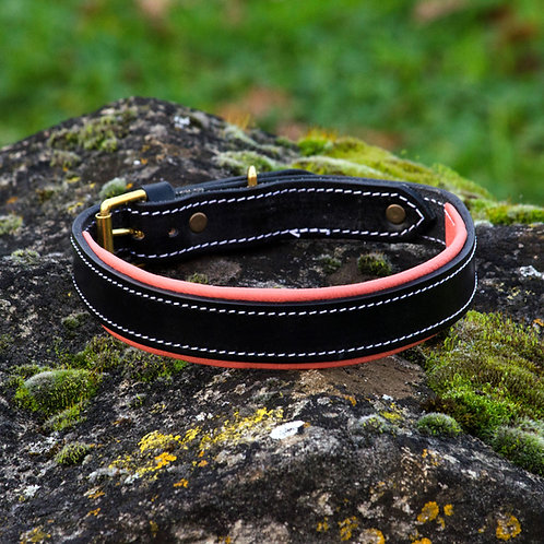 Silver Dog Handmade Coral Pink & Black  English Leather Collar L