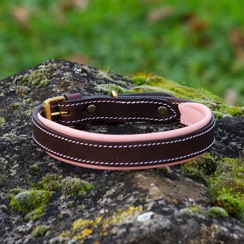 Silver Dog Handmade Baby Pink & Dark Brown  English Leather Collar L