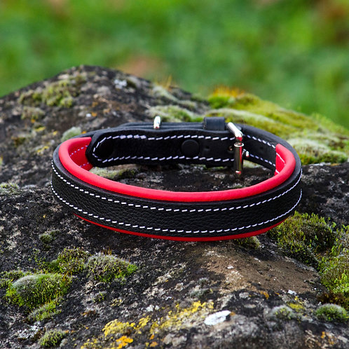 Silver Dog Handmade Red & Textured Black  English Leather Collar M
