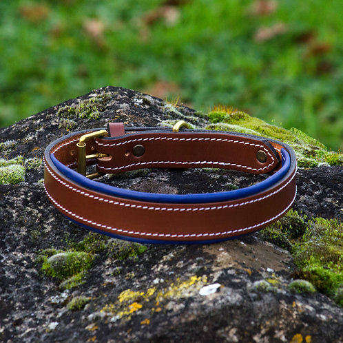 Silver Dog Handmade Blueberry & Brown  English Leather Collar L