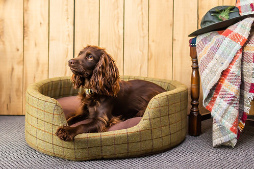 Tweed Oval Dog Bed with Removable Fleece Cushion