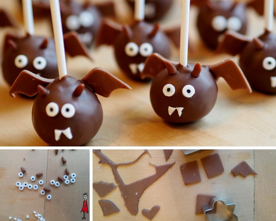 Fledermaus Cake Pops für Halloween