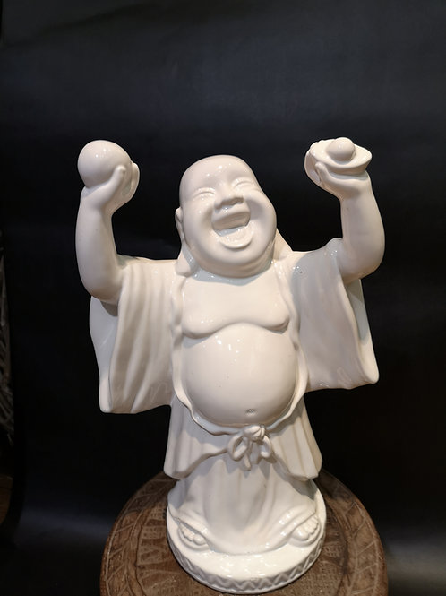 Bouddha rieur en céramique blanche