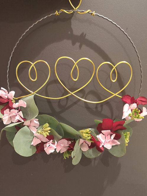 "Dried Flower Wreath ""Hearts"""