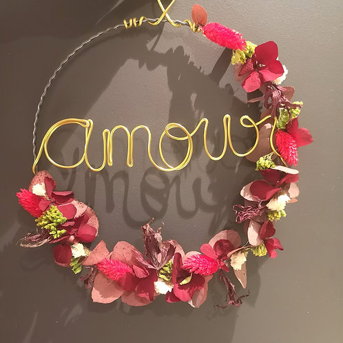 """""""Amour"""" Dried Flower Wreath"""