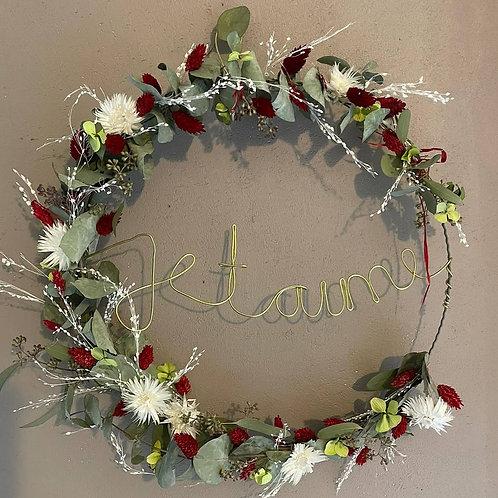 """Couronne de fleurs séchées et stabilisées """"Je t'aime"""""""
