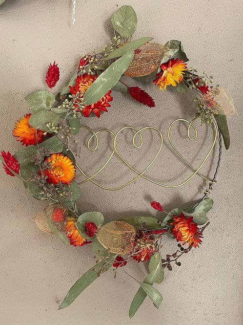 Couronne fleurs séchées et stabilisées 3 coeurs
