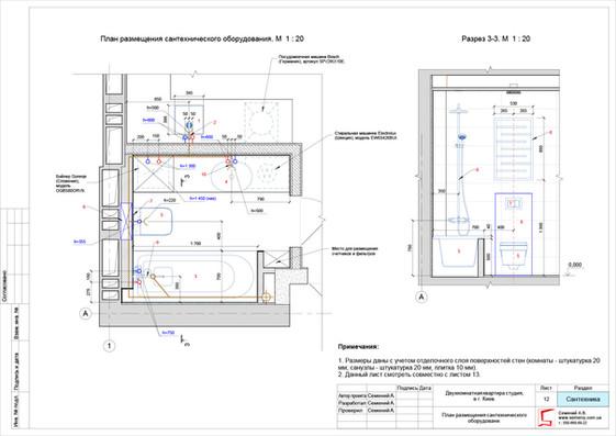 План размещения сантехнического оборудовани.