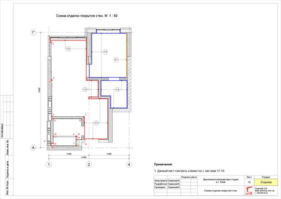 Схема отделки покрытия стен.