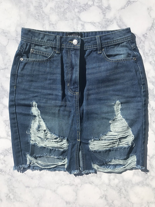 High Waisted Distressed Denim Skirt