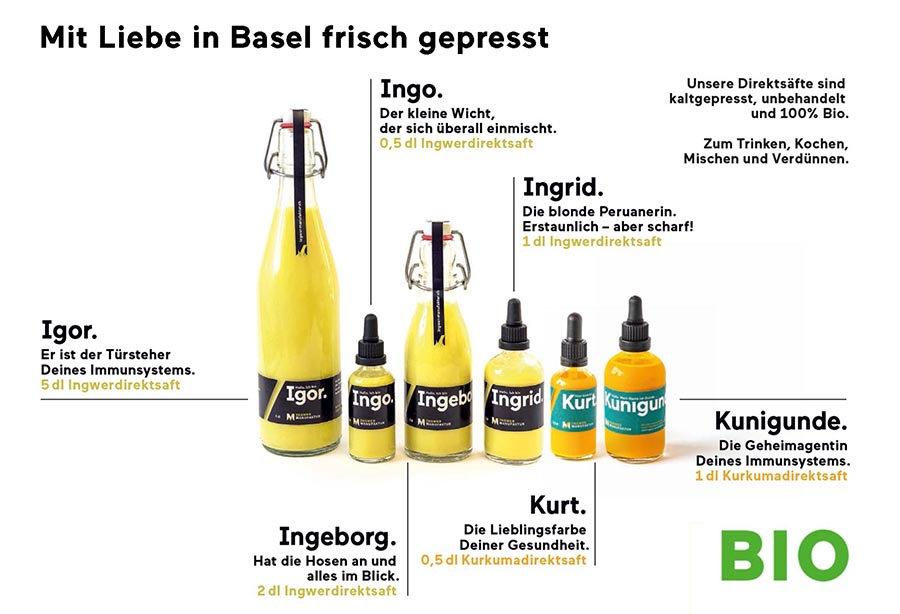 Sortiment Ingwer Manufaktur Basel