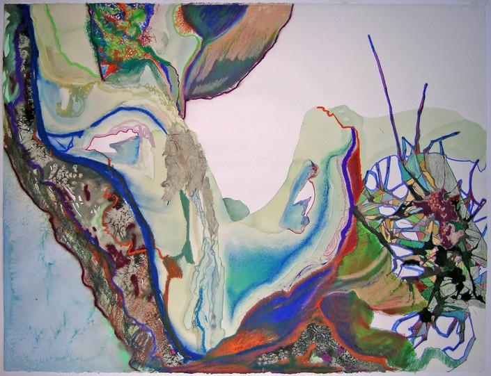 Watercolor, color pencil, ink, oil pastel, pastel