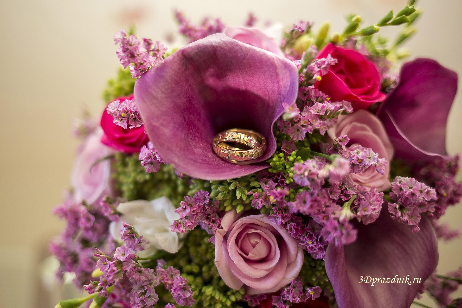 Обручальные кольца. Свадебный букет.