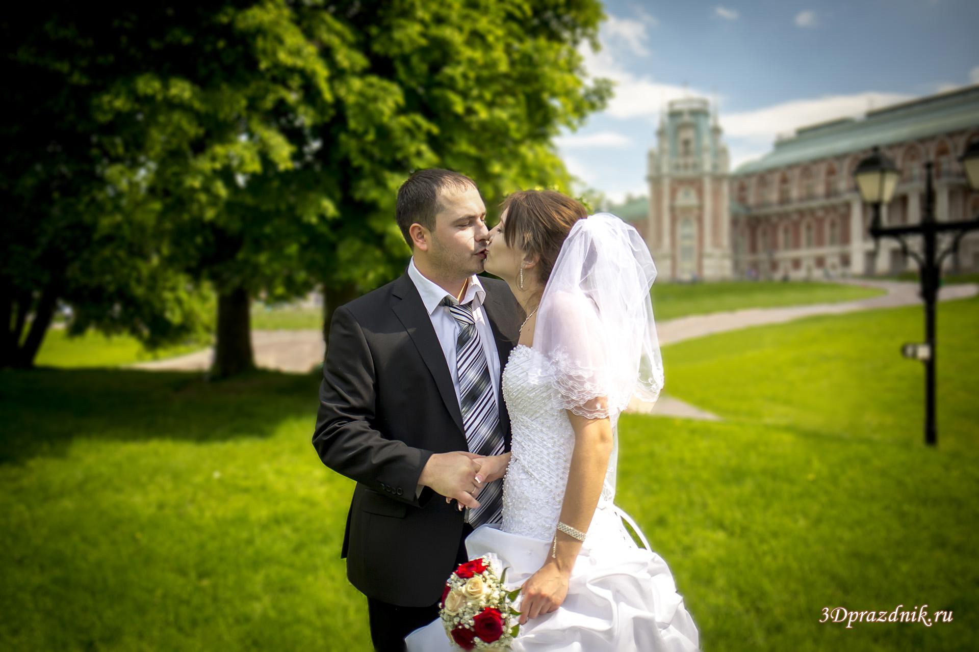 Сергей и Ольга свадебный поцелуй.