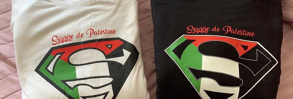 T-Shirt Sourire de Palestine - Logo Superman