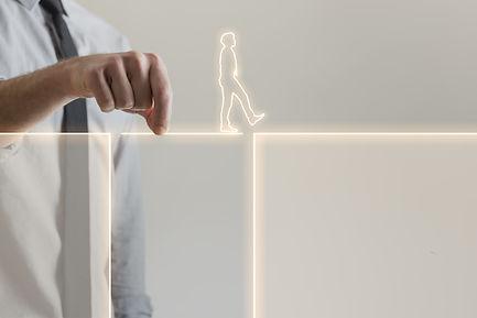 Businessman holding glowing bridge passa