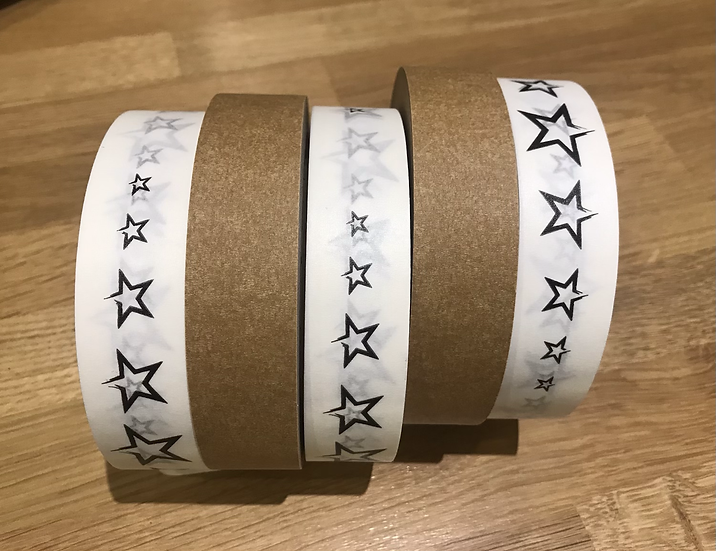 Stars recyclable paper tape (66m x 25mm)