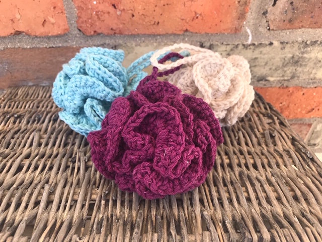 Handmade recycled cotton shower scrunchie