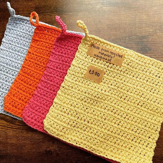 Handmade recycled cotton dish cloth