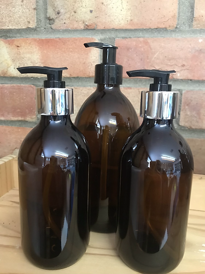 Amber pump dispenser bottle (500ml)